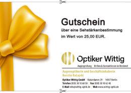 Einen Gutschein über eine Sehstärkenbestimmung im Wert von 25,00 EUR.